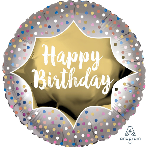Happy Birthday Satin Gold Burst Standard XL Foil Balloon